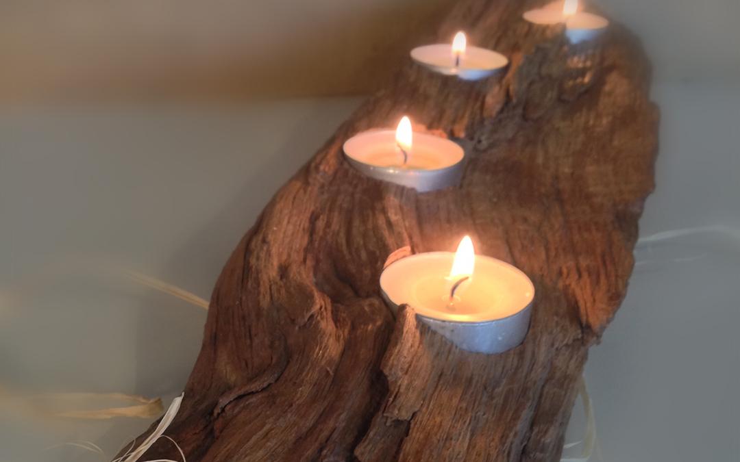 English oak candle holder