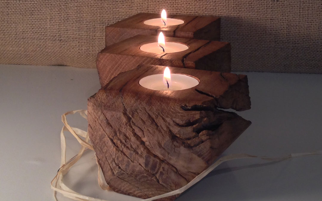 English oak candle holder