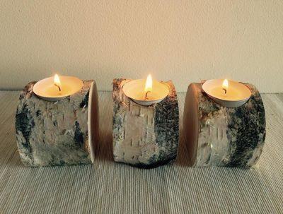 Birch Log candle