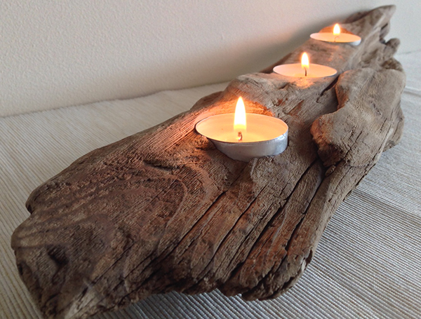 Drift wood candle