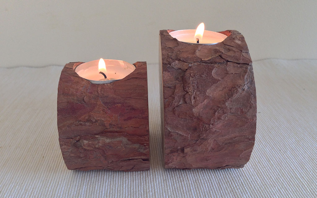 Pine Log Rustic Bark Tealight Candle Holder 2 Piece Inwood Creations