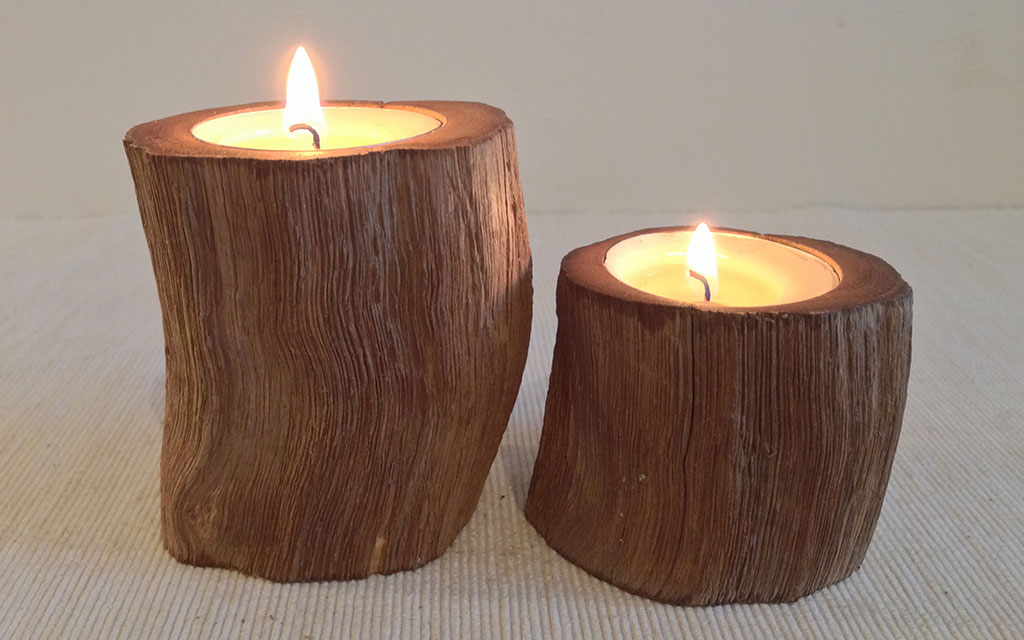 Oak pillar rustic wood tealight candle holder 2 piece Wood candle holders