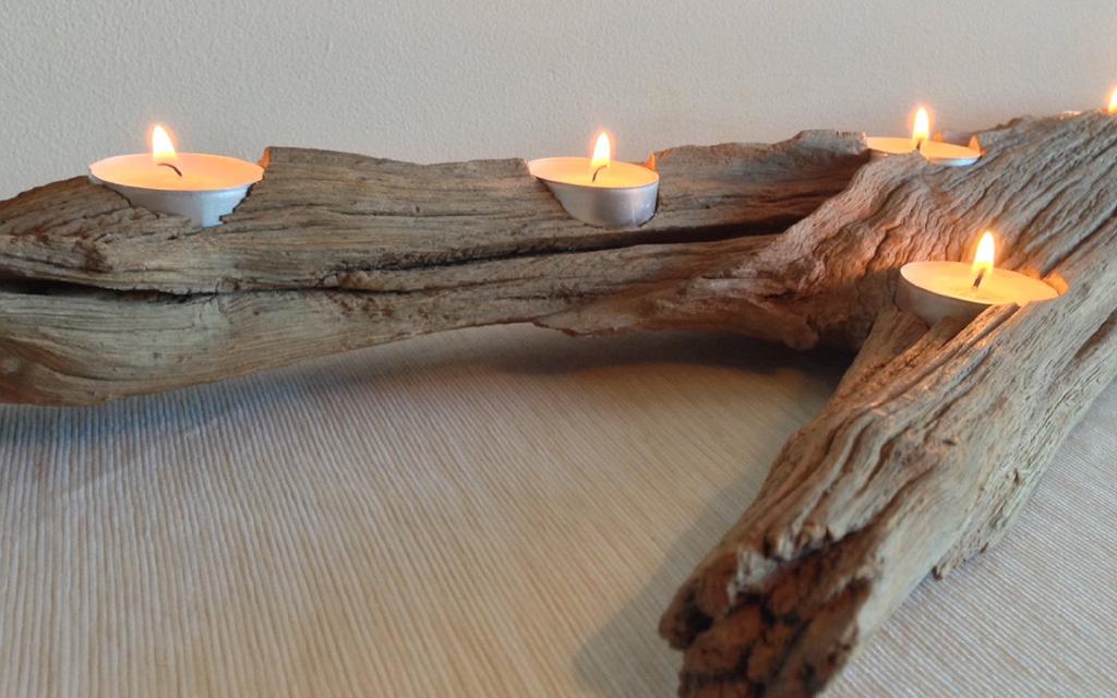 Oak Driftwood 6 Tealight Candle Holder Inwood Creations