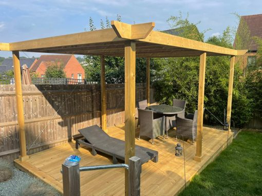 Treated redwood decking