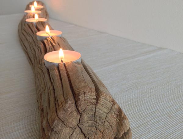 Long oak wooden candle