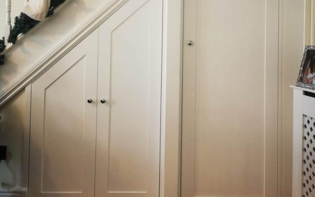 Under stair storage with wine rack