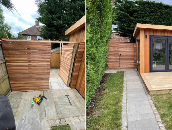 Cedar slat wall and gate